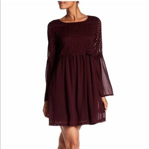 Max Studio Bell Sleeve Lace Overlay Dress